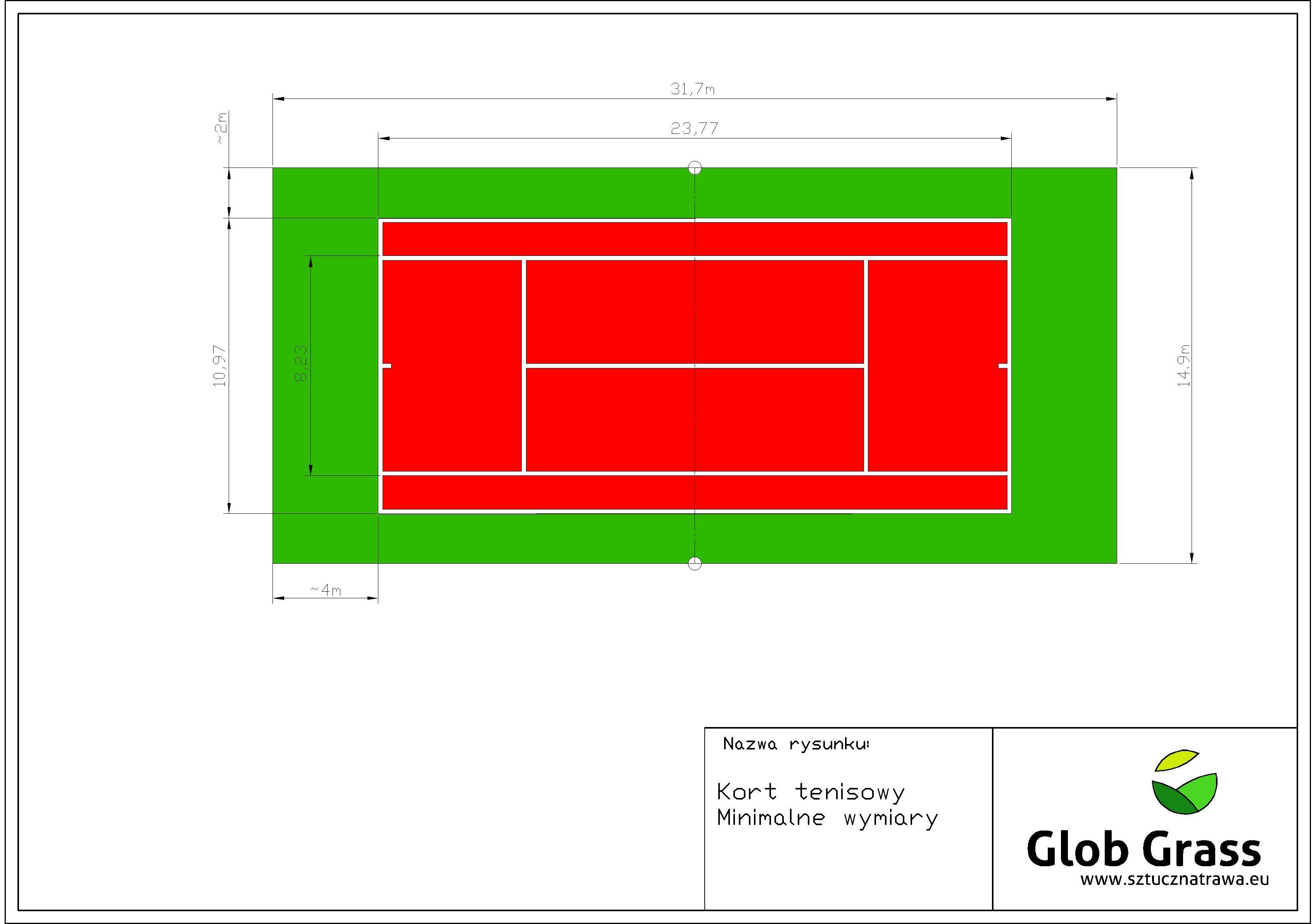 Kort minimalne wymiary 31,7 na 14,9-Model